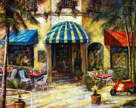 Christine's Cafe - entrance, tables, restaurant, painting, chairs, trees, artwork, motorcycle