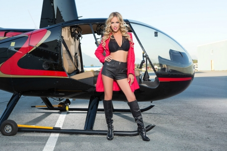 Blonde Wearing Hot Pants - blonde, model, shorts, helicopter