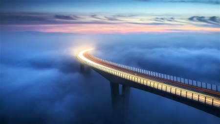 towards infinity - illuminated, sky, clouds, bridge