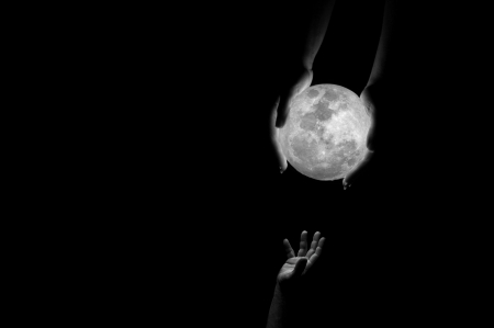 :) - fantasy, moon, luna, bw, hand, black, creative, white