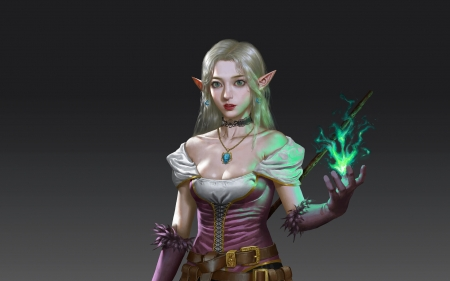 Sorceress - fantasy, frumusete, yang jiawen, girl, elf, sorceress, superb, gorgeous