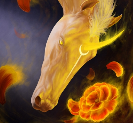 Unicorn - cal, frumusete, fantasy, luminos, unicorn, yellow, horse, anastasia metlyaeva, view from the top