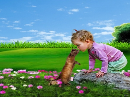 The boy and the cat - flowers, boy, grass, cat, tree trunk