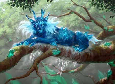 Frost lynx - fantasy, ilse gort, luminos, frost lynx, magic the gathering, cat, pisici, blue