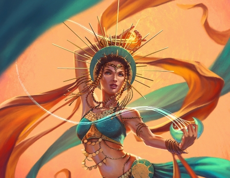 Moon and sun dancer - fantasy, moon, sun, girl, orange, dancer, blue, art, luminos, asur misoa