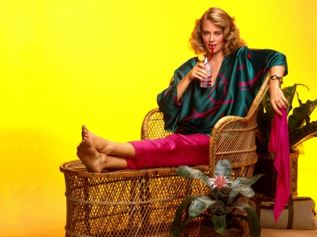 Cybill Shepherd - colorful, pajamas, cocktail, model, Shepherd, lingerie, beautiful, actress, feet, Cybill Shepherd, wallpaper, 2020, hot, drink, chair, Cybill