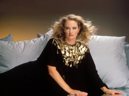 Cybill Shepherd - dress, model, Shepherd, black, beautiful, bed, hair, actress, Cybill Shepherd, wallpaper, 2020, hot, Cybill, pillows