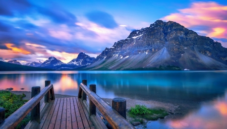 Bow lake, Banff NP - reflection, lake, blue, rocks, pier, beautiful, sky, mountain, tranquil, serenity, national park, Bow, Banff