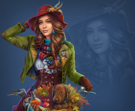 Jill O'Tumn - red, ab games, luminos, abgames, caine, hat, cute, fruit, fantasy, girl, blue, puppy, dog