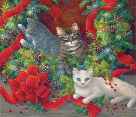 Unmaking of the Wreath - wreath, crafts, christmas, cats