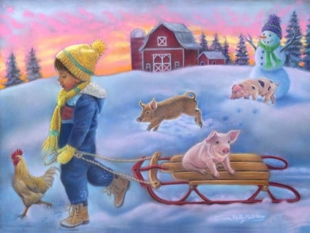 Snow Day on the Farm - farm, sliegh, snow, winter, animals