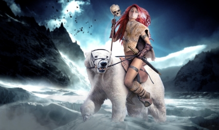 Queen of The Frozen Wastes - fantasy, snow, fantasy girl, queen, red Sonja, comic character, Winter, polar bear