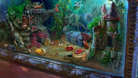 Aquarium - octopus, fantasy, pesti, fish, elena lagutina, aquarium, summer, stuff, vara