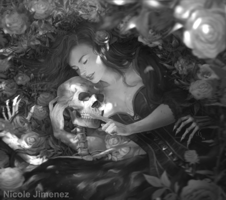 Love - skeleton, nicole jimenez, fantasy, girl, love, skull, bones, couple