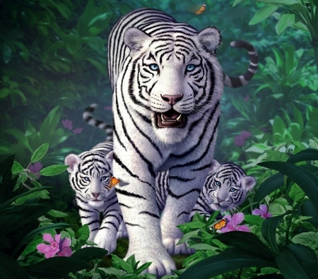 White Tigers - cute, family, fantasy, jerry lofaro, cub, tiger, white, mother, art