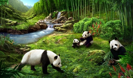 Panda bears - urs, green, black, bear, white, bamboo, art, luminos, panda, fantasy, jerry lofaro