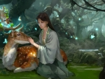 Girl and deer