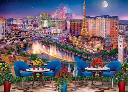 Las Vegas Living - buildings, digital, colors, chairs, tables, fountains, moon, flowers, evening