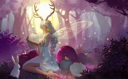 Fairy - luminos, elf, easter, superb, horns, ada zhang, egg, fantasy, girl, bird, pasari, fairy, gorgeous, yellow, forest, rabbit, frumusete, wings, bunny