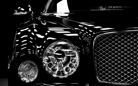 Headlamps of black Bentley - black, headlamps, bentley, car