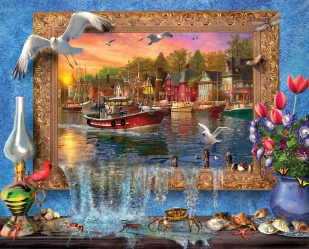Seaside Harbor - water, ship, frame, houses, flowers, wall, seagulls, artwork, digital