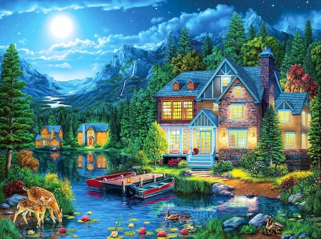 House near the lake - boats, moon, cottage, pier, mountains, ducks, deer, stars, artwork, painting
