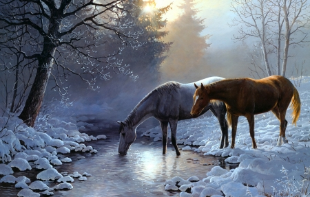 Horses in winter by Persis Clayton Weirs - winter, iarna, forest, art, weirs, horse, persis clayton, cal, water, source, painting, river, pictura