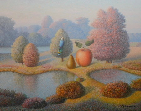 Evening fall - painting, pictura, surreal, art, apple, autumn, evgeni gordiets, toamna, fruit, water, mar
