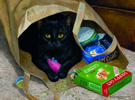 Busted by Persis Clayton Weirs - art, persis clayton weirs, painting, black, bag, pictura, cat, pisici, funny