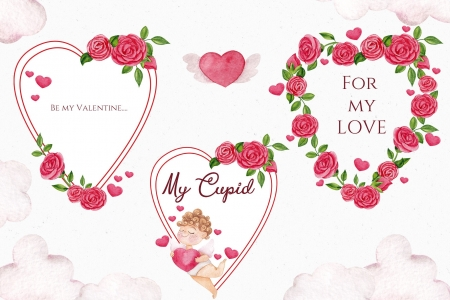 Happy Valentine's Day! - cupid, heart, flower, valentine, pink, white, card