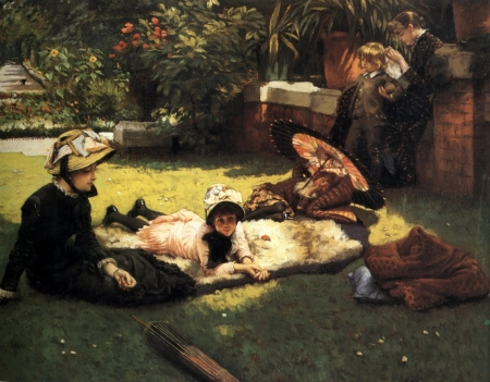 The hammock - art, vara, paitning, people, summer, picnic, hammock, james tissot