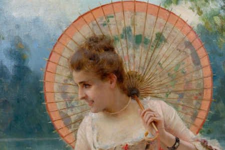 A tender moment in the garden (detail) - art, federico andreotti, detail, umbrella, woman, vara, girl, hand, painting, summer, pictura, parasol, pink