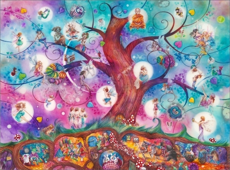 A celtic twilight - art, tree, kerry darlington, twilight, celtic, pink, fairy, blue, fantasy