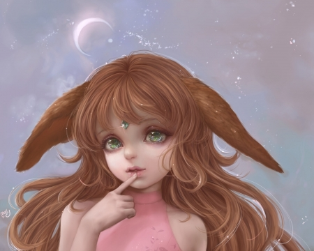 Starry Chibi - ears, molly moore, starry chibi, face, pink, luna, luminos, cute, moon, fantasy, fox, girl