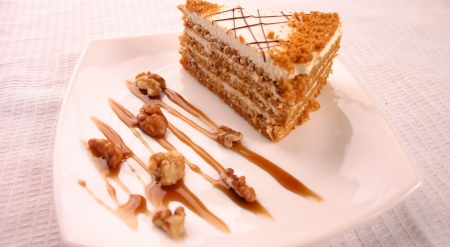 Walnut cake - sweets, food, cake, photography, wallpaper, walnut, softness