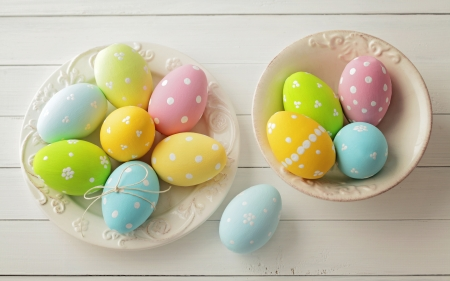 Happy Easter! - egg, green, yellow, pastel, easter, pink, card, blue, colorful