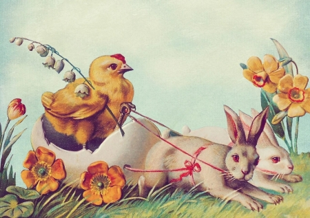 Happy Easter! - pasari, bunny, easter, chick, vintage, card, rabbit, spring, egg, bird, flower