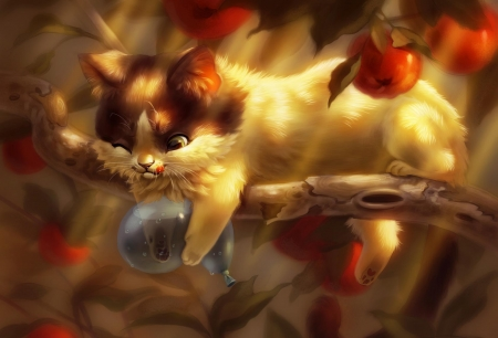 :D - art, apple, red, autumn, frumusete, luminos, pixxus, cat, fruit, tree, balloon, fantasy, funny, pisici, tomana
