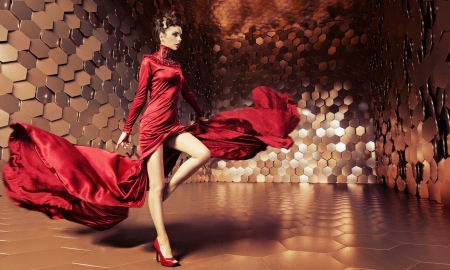 High Fashion Model in Red - brunette, runway, red, lovely, model, gown, fashion, Metallic background