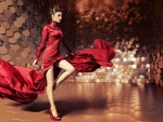 High Fashion Model in Red
