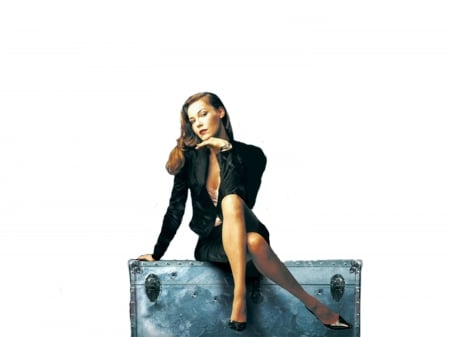 Connie Nielsen - legs, model, skirt, Connie Nielsen, beautiful, sexy, heels, slip, Ice Harvest, Connie, jacket, actress, wallpaper, 2020, Nielsen, trunk