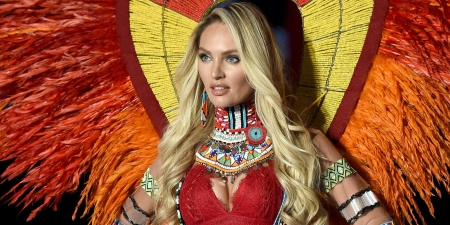 Candice Swanepoel - red, orange, model, girl, blonde, yellow, woman, Candice Swanepoel