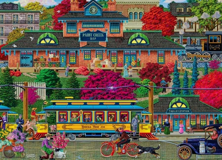 Trolley Station - train, car, people, colors, trees, bicycles, artwork, dogs, painting