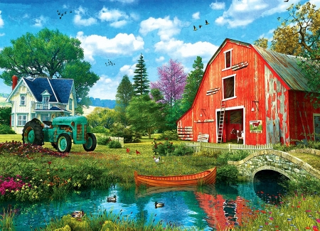 The Red Barn - tractor, house, bridge, painting, ducks, river, trees, artwork, boat
