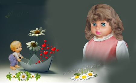 HEIDI DOLL E O AMOR - family, cute, boy, people, love, beauty, flowers, adorable