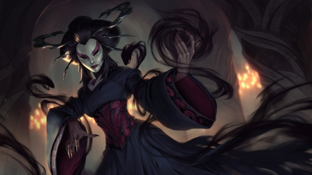 Dark Geisha - gothic, geisha, dark, fantasy, legends of runeterra, magic
