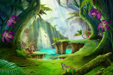 The enchanted forest - paradise, magical, beautiful, tiger, fairytale, wood, enchanted, forest, art, fantasy