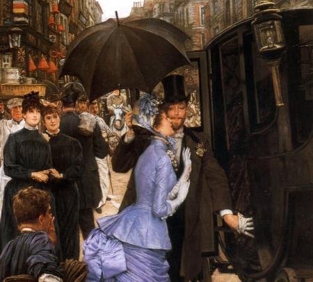 The traveller - girl, people, painting, man, james tissot, traveller, couple, art, umbrella, pictura