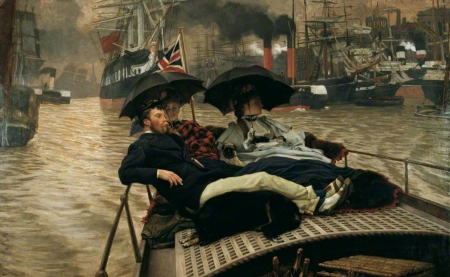On the Thames - people, black, umbrella, man, james tissot, woman, thames, art, water, painting, pictura