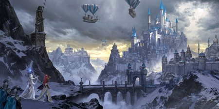 Castle - luminos, ling xiang, airship, castle, blue, world, art, frumusete, cloud, balloon, fantasy